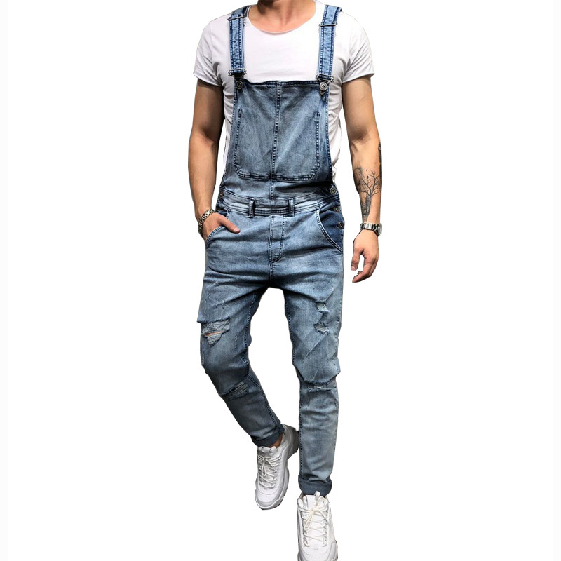 MORUANCLE Fashion Men's Ripped Jeans Jumpsuits Hi Street Distressed Denim Bib Overalls For Man Suspender Pants Size S-XXXL