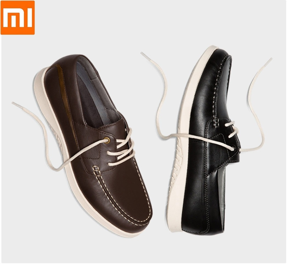 Xiaomi QIMIAN men lace up casual shoes Six hole tie Elastic outsole First layer cowhide Lightweight