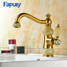 Fapully Luxury Golden bathroom Jade faucet brass wather basin taps mixer
