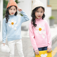 knitted sweater girls autumn spring 2018 new red grey pink long sleeve tops knitting teenage little girls sweaters and pullovers