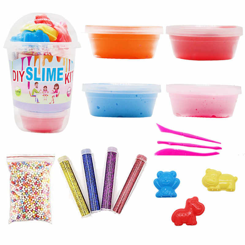 DIY Slime Kit Foaming gel jam foaming mud  Clear Crystal Slime Making Kit Beads Glitter children's toys crystal mud set
