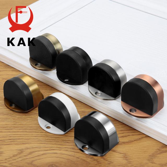 KAK Stainless Steel Door Stopper Non-punch Sticker Water-proof Door Holder Hidden Rubber Door Stop Furniture Door Hardware