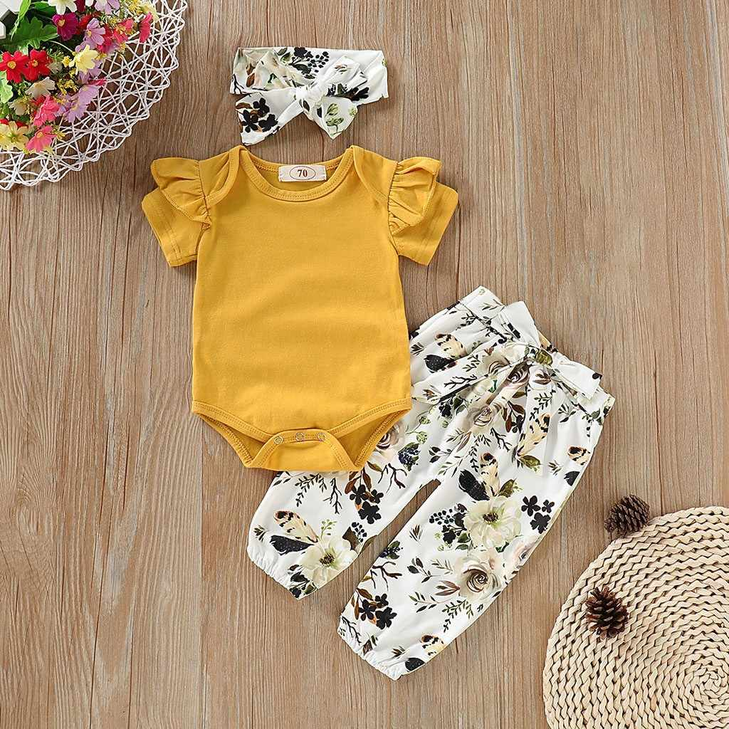 ONTO-MATO 2019 Toddler Baby Girls Clothes Short Sleeves Romper Solid color Tops+Floral Pants+Headbands Set Outfits  #19529