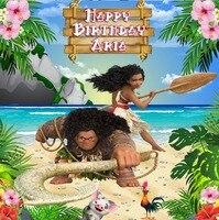 custom moana maui sea beach flower leaves birthday photography backgrounds High quality Computer print party backdrops