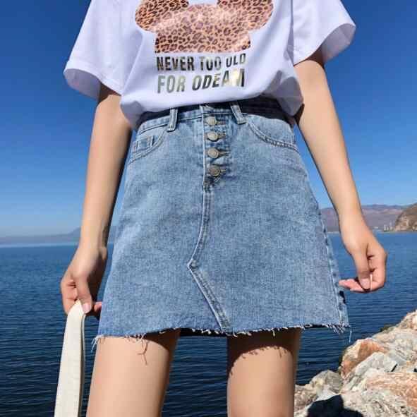 Летняя с высокой талией Женская джинсовая юбка с карманами, сексуальная однобортная женская джинсовая юбка с кисточками, женские юбки-карандаш, мини saia mujer DV682