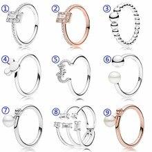 5ed351679f7d Rosa luminosa hielo Mickey y ahorre la silueta contemporáneo perla de  cristal anillo de Plata de Ley 925 de la joyería de .
