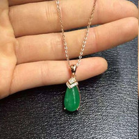 2017 Qi Xuan_Trendy Jewelry_Colombian Green Stone Water Drop Necklaces_Rose Gold Color Pendant Necklaces_Factory Directly Sales