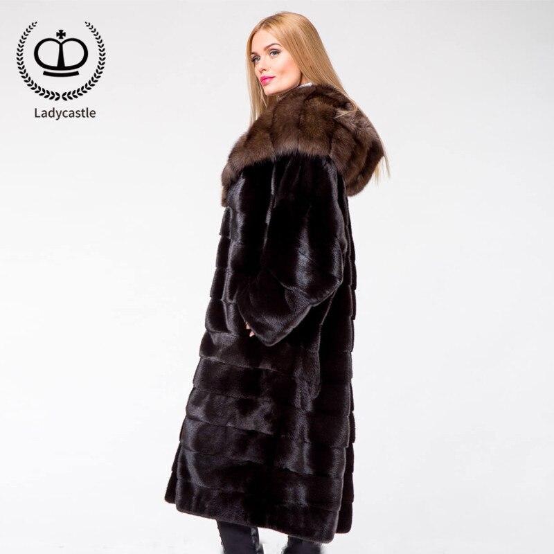 Naturelle Long Avec Mkw Pardessus Luxe Fourrure D'hiver Nouvelle Femmes Sable De Arrivée Black 123 2018 Hood Vison Mode Réel Manteau Pelt P7fSwq