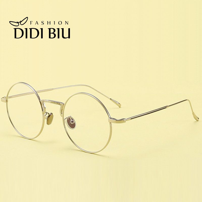 71db791826a1 DIDI Small Round Clear Eyeglass Men Computer Anti Radiation Glasses  Prescription Eye Frames Women Metal Thin Optics Eyewear W754-in Eyewear  Frames from ...