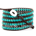 Free Shipping New Arriver Chirstmas Gift Jewellery ! Natural Round Nice Turquoise Wrap Bracelet On Brown Leather 4mm 32'-34inch
