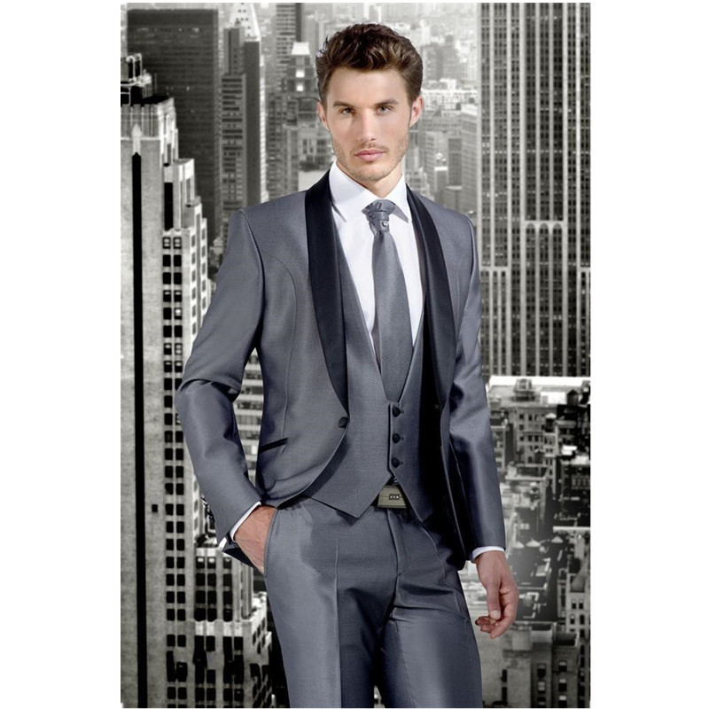 Custom Mens Suit Classic Gray Man Lang Peak Black lapel Best Mens Suit Groom Suit Business Casual Mens Suit (Top + Pants Vest