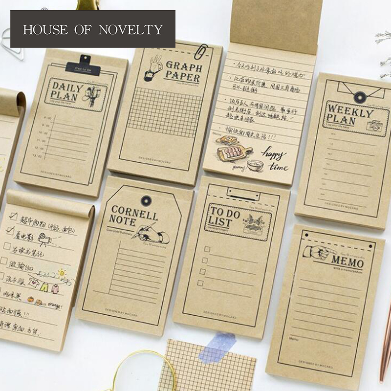 Retro Kraft Paper Daily Planner Graph List Memo Pad Sticky Notes Escolar Papelaria School Supply Bookmark Label 200 sheets 2 boxes 2 sets vintage kraft paper cards notes filofax memo pads office supplies school office stationery papelaria