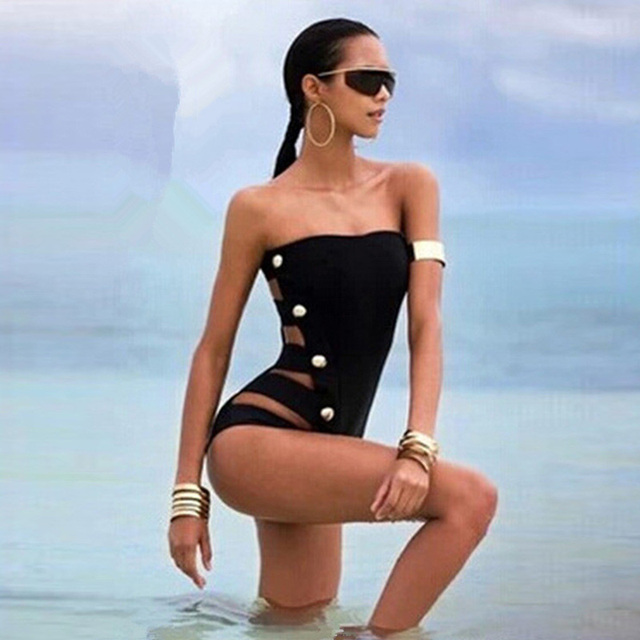 66554453a48e5 2017 Sexy Off the Shoulder One Piece Swimsuit Bandage Swimwear Women Multi-Button  Monokini Bodysuit Bathing Suit Swim Wear Black
