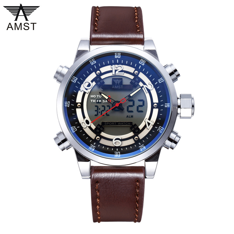 2017 New Hot Luxury Brand AMST LED Digital Watches Men Quartz Hour Clock Fashion Casual Sports Watch Men's Military Wristwatches