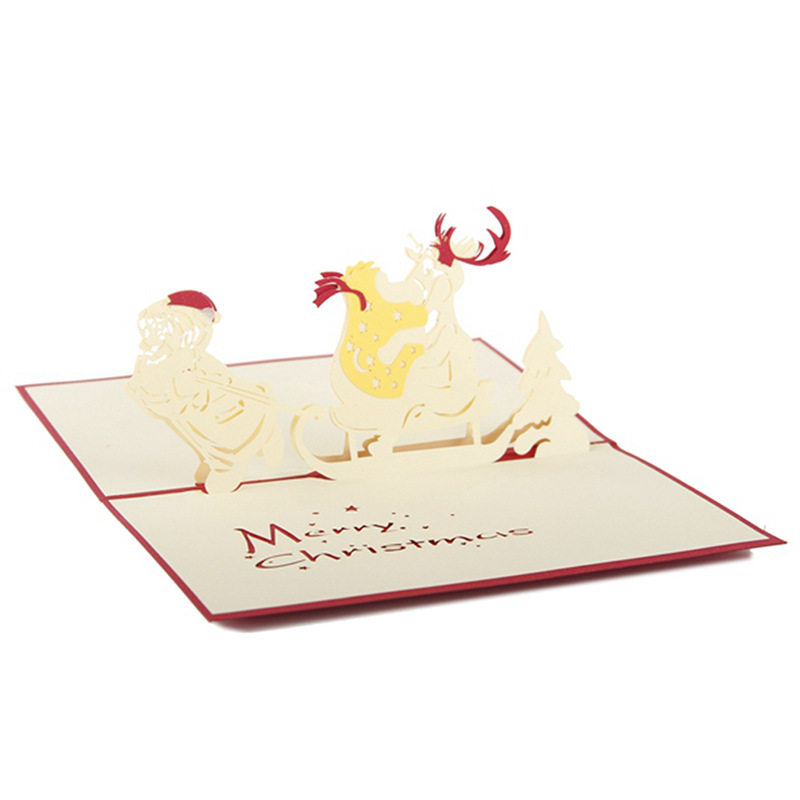 creative Paper-cut Postcard Christmas Greeting Cards Santas Sleigh Gift Cards Red Cover Free Shipping Wedding & Anniversary Bands 10 Pieces/lot