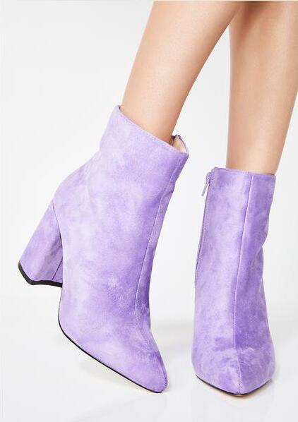 as Talons En Picture Daim Bout Bottes Pointu Courte Robe Jaune De Designer Femmes Mode Carré Picture Cheville 2018 Dames Violet As D'hiver Chaussures wq1Ctf