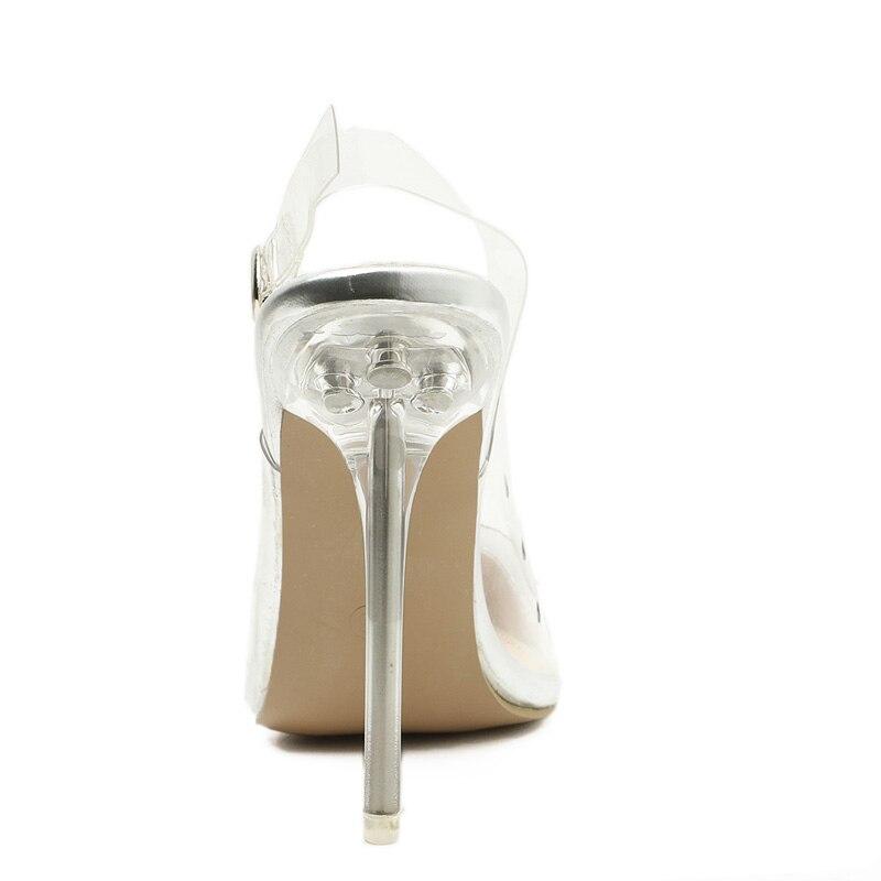 Stilettos Zapatos Hebilla Sandalias Mujeres Silver Transparente Tacón Alto Talón Aiykazysdl De Delgado Bombas Fiesta Slingback Correa Vestidos 7ZqBPg