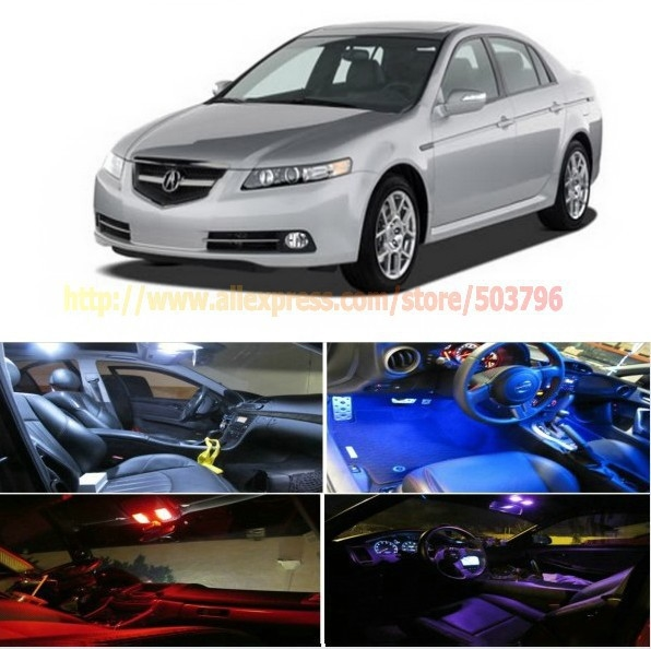 Free Shipping 7Pcs/Lot car-styling LED Interior Package Combo Kit High Power LED Dome Lights For Acura TL 2004-2008