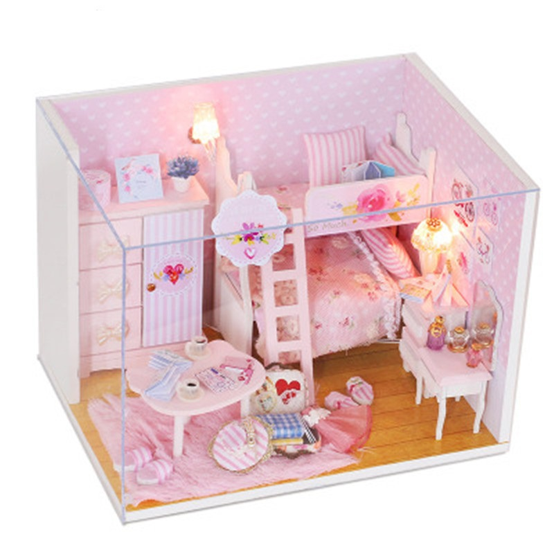 Pink Heart Wooden Toys For Children Classical House DIY Mini Dollhouse Toys With LED Light Handmade Doll House Furniture Kit