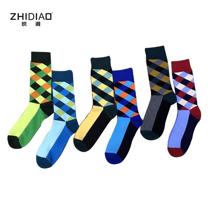 Funny unisex men winter happy socks colorful rhombus mens crew socks Europe and the United States version of socks men woman