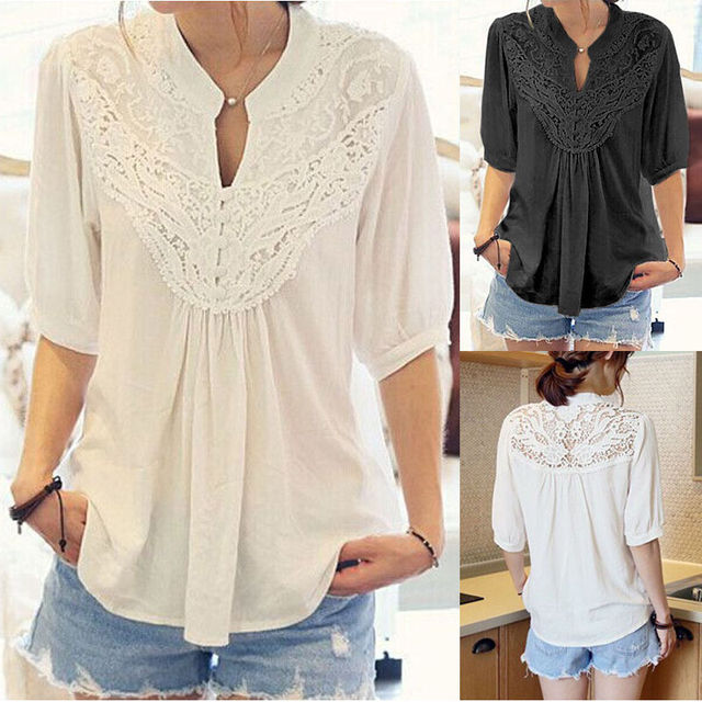 3e49ae8151 New Women Summer Loose Top Short Sleeve Blouse Ladies Casual Lace Tops Shirt  Women Clothes dropshipping