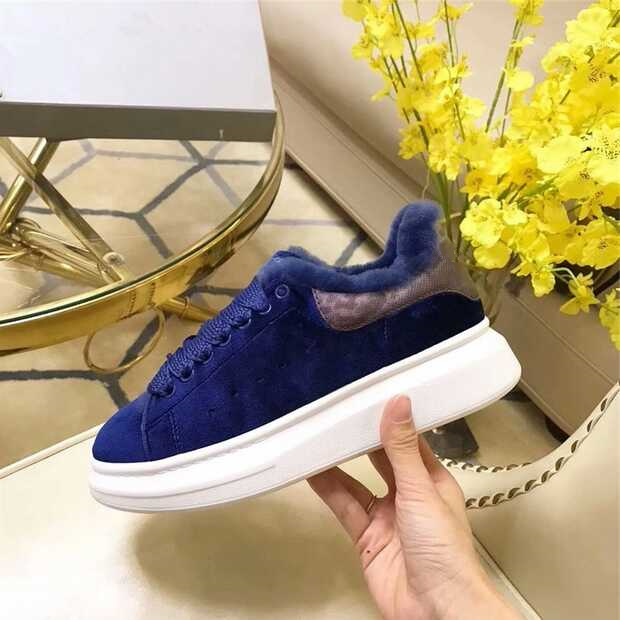 Brand Chic Runway Star Casual Shoes Winter Warm Plush Women Sneakers Low Top Women Flats Mixed Color Lace Up Sapato Feminino chic scoop collar totem pattern lace spliced tank top for women