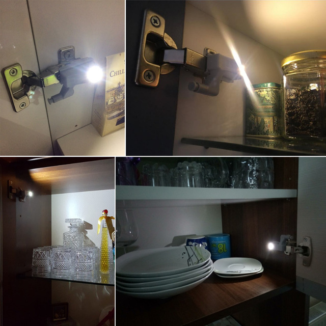 10pcs/pack Under Cabinet light  Door Open Auto ON LED Wall Lamp Universal Furniture Cupboard Closet Wardrobe Hinge home lights
