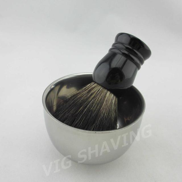 BL0322BLBW Shaving set Double Stainless steel shiny  shaving bowl shave mug cup Black badger shaving brush resin handle