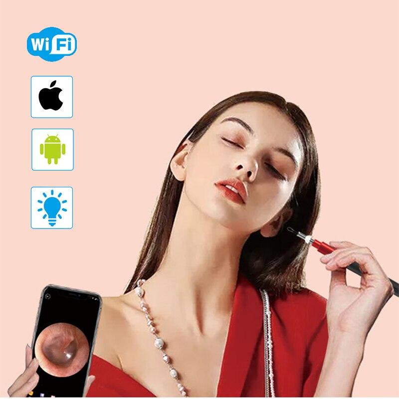 IOS/Android WiFi oreille Otoscope sans fil HD1080P numérique Endoscope oreille Inspection caméra 3.9mm Earwax outil de nettoyage avec 6 raccords