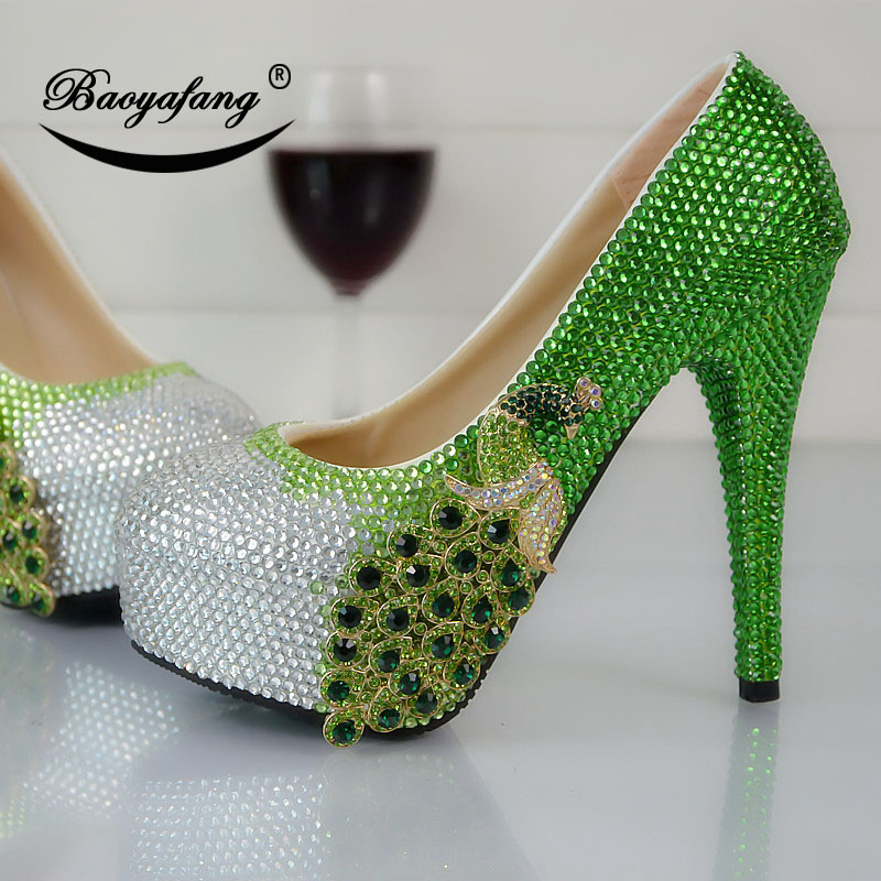 2019 Womens wedding shoes Green Water Drill Phoenix Round Headed High heeled Crystal Shoe Bride bridesmaid