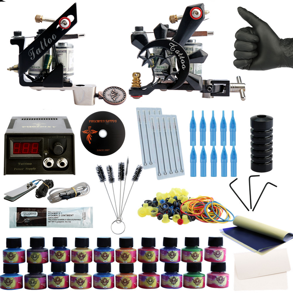 Complete 20 Colors Tattoo Ink SetsTattoo Kit 2 Machines Set Black Power Supply Needles Permanent Make Up Professional Tattoo Kit ophir 380pcs pro complete tattoo kit 3 tattoo machines guns 40 colors ink pigment tattoo supply power needles nozzles set ta005