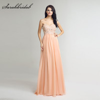 Long Lace Evening Gowns Peach Chiffon Simple Sweetheart Floor Length Beaded Prom Party Dresses Zipper Back Hot Robe LX251