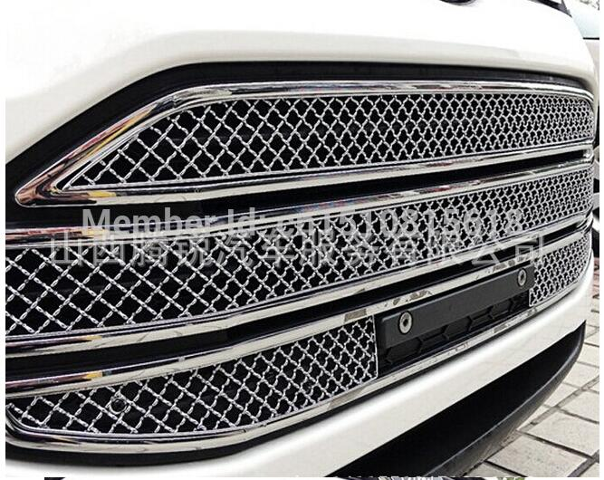 Car front bumper Mesh Grille Around Trim Racing Grills 2013-2016 For FORD EcoSport Quality Stainless steel abs chrome front grille around trim racing grills trim for 2013 hyundai santa fe ix45