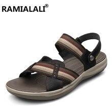 Ramialali/мужские сандалии из натуральной кожи мужские пляжные сандалии летние мягкие дышащие массажные повседневные туфли на толстой подошве