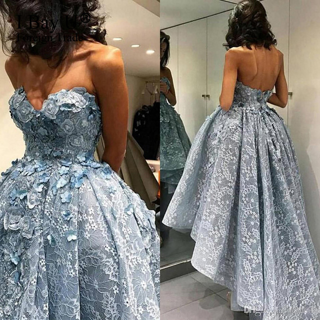 3d Flower Lace Puffy High Low Ball Gown Arabic Formal Evening Dress ...