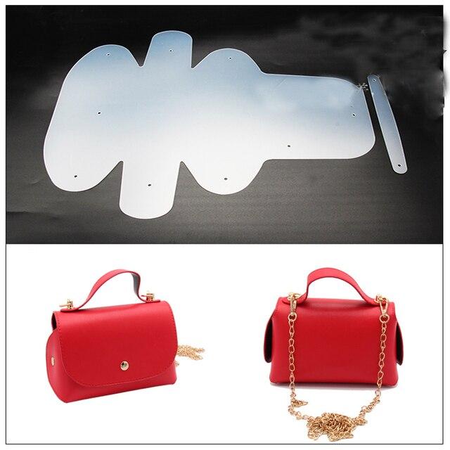 2018 DIY leather craft bag small handbag sewing pattern pvc template ...