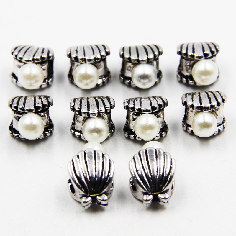 20pcs10*16mm Fashion Shell Pear Charm European Beads Fit Bracelets For Women Jewelry Mak ...
