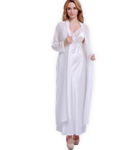 Free Shipping Women Satin Silk Robes Two Piece Faux Silk Bathrobe Autumn Softness Sexy Lace Long