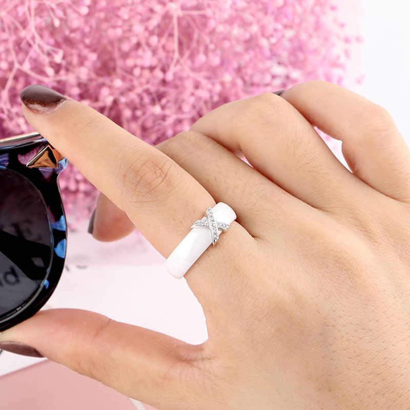 Женское керамическое кольцо с кристаллами, кольцо 6/8 мм шириной, украшенное с кристаллами класса AAA в форме креста, большие размеры 10, 11, 12, обручальное кольцо, на подарок