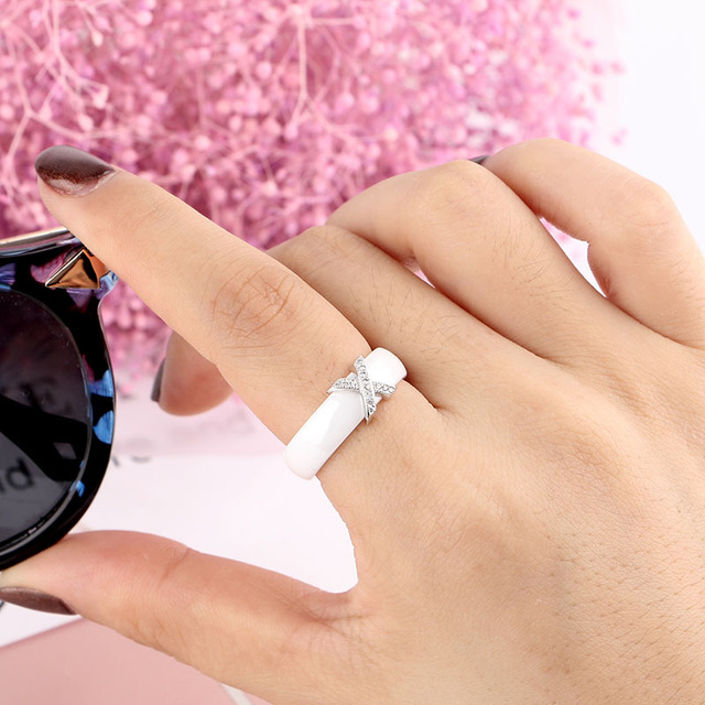 Fashion Jewelry Women Ring With AAA Crystal 6/8 mm X Cross Ceramic Rings For Women Men Plus Big Size 10 11 12 Wedding Ring Gift