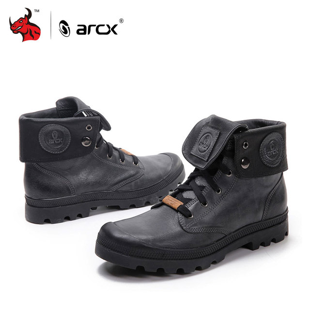 ARCX Retro style Men Leather Motorcycle Boots Lapel Men Leisure Shoes Motorcycle  Short Boots Retro Motorcycle Boots 2