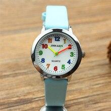 Мода круглый учиться время дети мальчик Девушка кварц студент наручные детская репетитор Часы Простой дизайн детской подарок часы