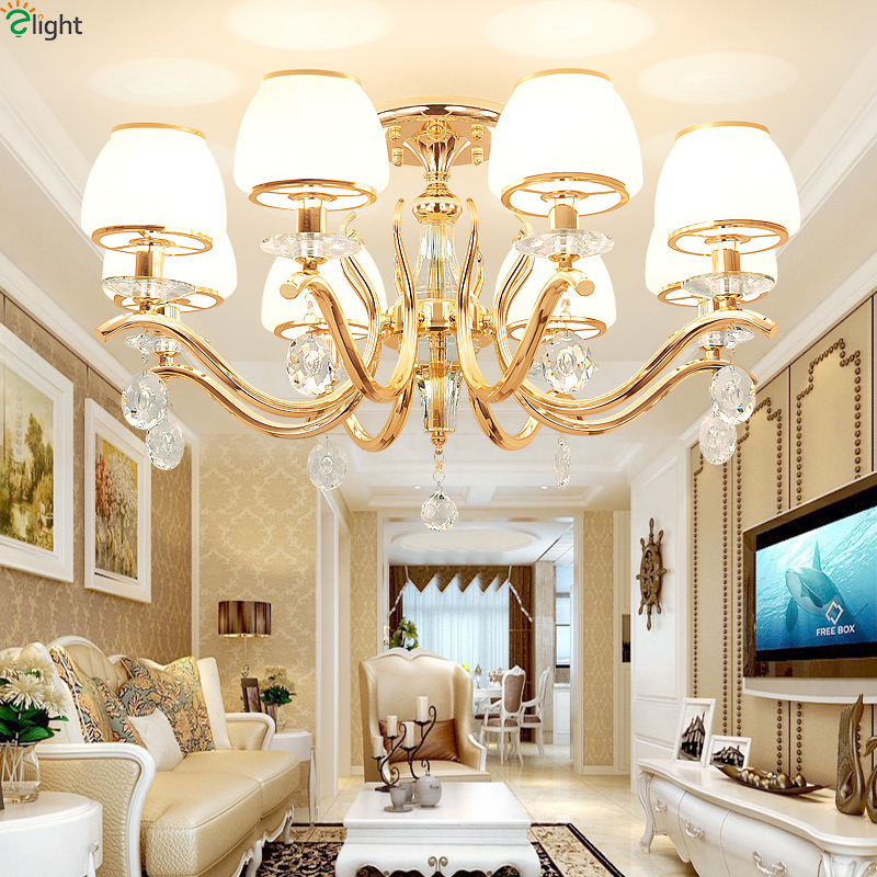 Modern Crystal Led Pendant Chandelier Lights Gold Metal Dining Room Led Chandeliers Lighting Living Room Hanging Light Fixtures