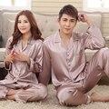 Gris Rosa Amantes de Seda Conjunto de Salón de La Moda de primavera y Verano de manga Larga ropa de Dormir Pijamas Para Las Mujeres Venta Caliente de la Mujer de Satén camisón