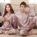 Os Amantes de Seda primavera Verão Cinzento Rosa Definir Salão de Moda da Longo-luva Pijamas Pijamas Para As Mulheres Venda Quente Do Sexo Feminino Cetim camisola