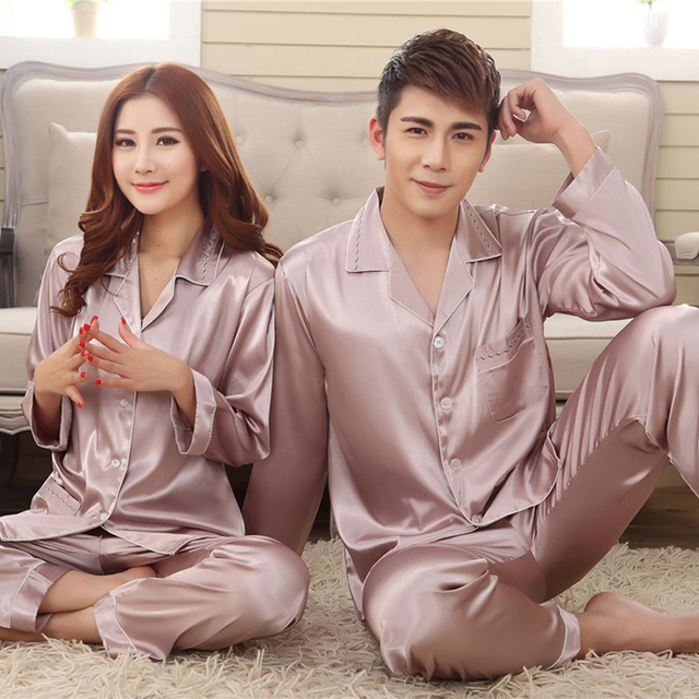 6f759e79c41c Spring Summer Grey Pink Silk Lovers Set Fashion Lounge Long-sleeve Sleepwear  Pajamas For Women Hot Sale Female Satin Nightgown