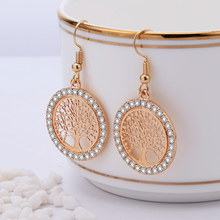 Gold Crystal Drop Earrings Women Hollow Out Tree of Life Pattern Round