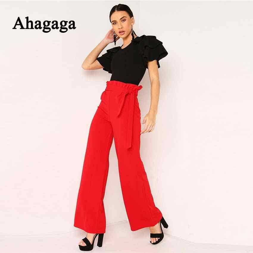 Ahagaga 2019 весенние Комбинезоны женские спортивные костюмы модные однотонные оборки сексуальное обтягивающее Женское боди Элегантные повседневные женские комбинезоны Femal