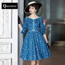 QUEENTOR 2017 brand vestidos autumn high-end vintage puff sleeve elegant ladies fashion midi umbrella dress women