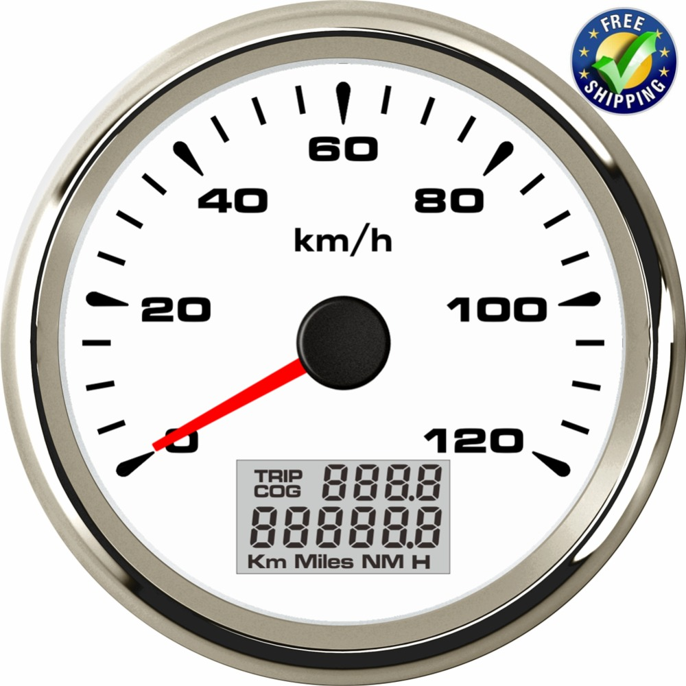 Newest 8 Kinds Backlight Color Instrument Panel Gauges 85mm Speed Odometers 0 120km/h GPS Speedometers 9 32v for Auto Ship RV